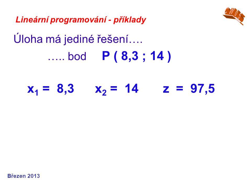 x1 = 8,3 x2 = 14 z = 97,5 Úloha má jediné řešení….