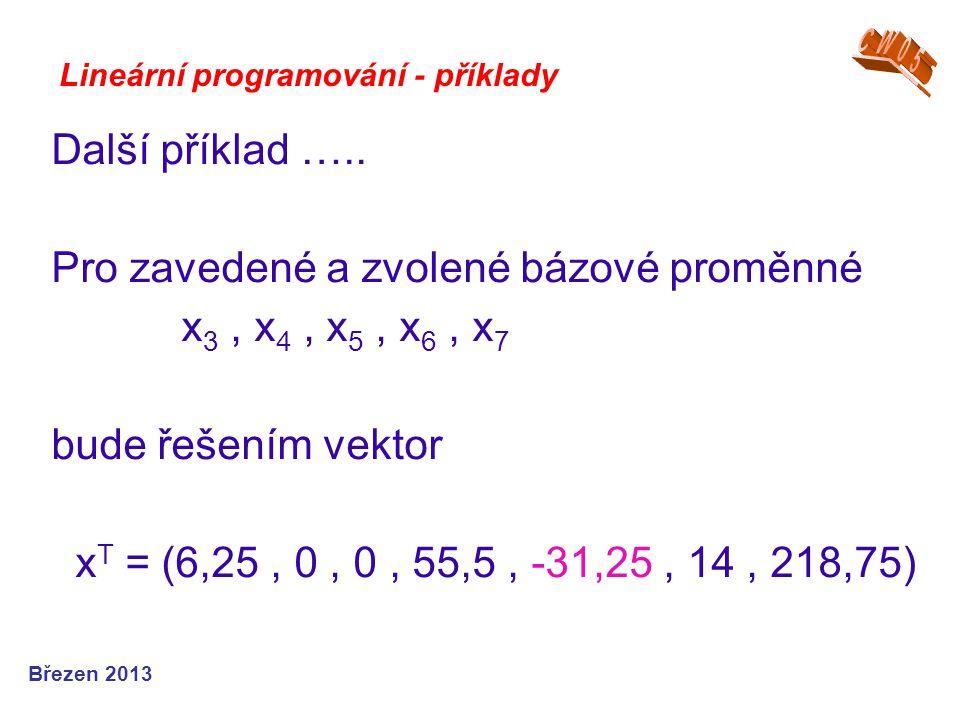 Pro zavedené a zvolené bázové proměnné x3 , x4 , x5 , x6 , x7