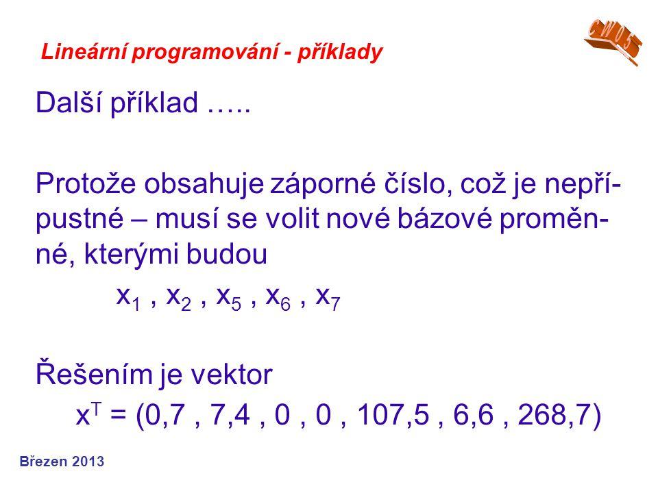 CW05 Lineární programování - příklady. Další příklad …..