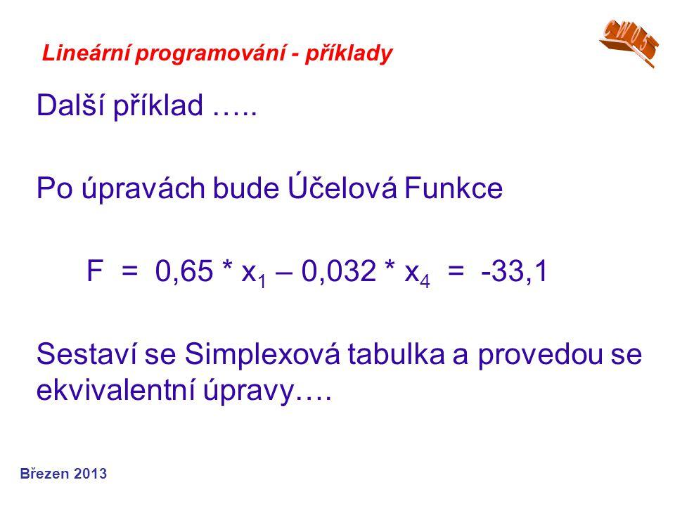 Po úpravách bude Účelová Funkce F = 0,65 * x1 – 0,032 * x4 = -33,1