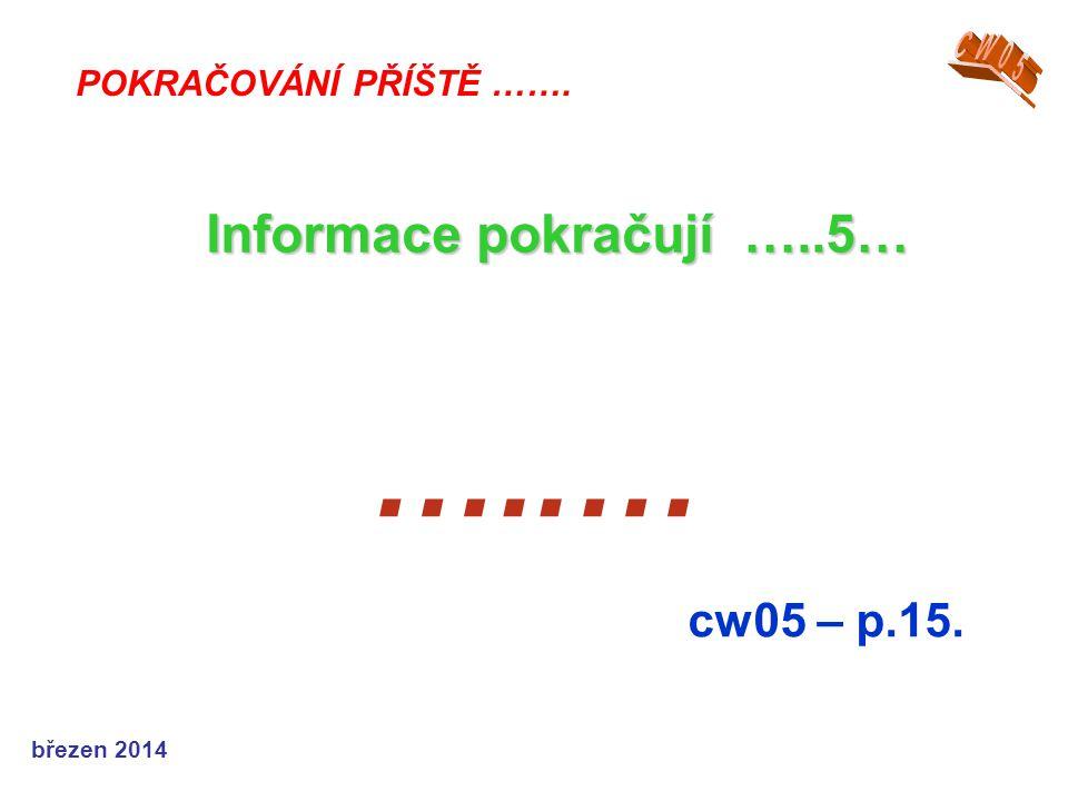 …..… Informace pokračují …..5… cw05 – p.15. CW05