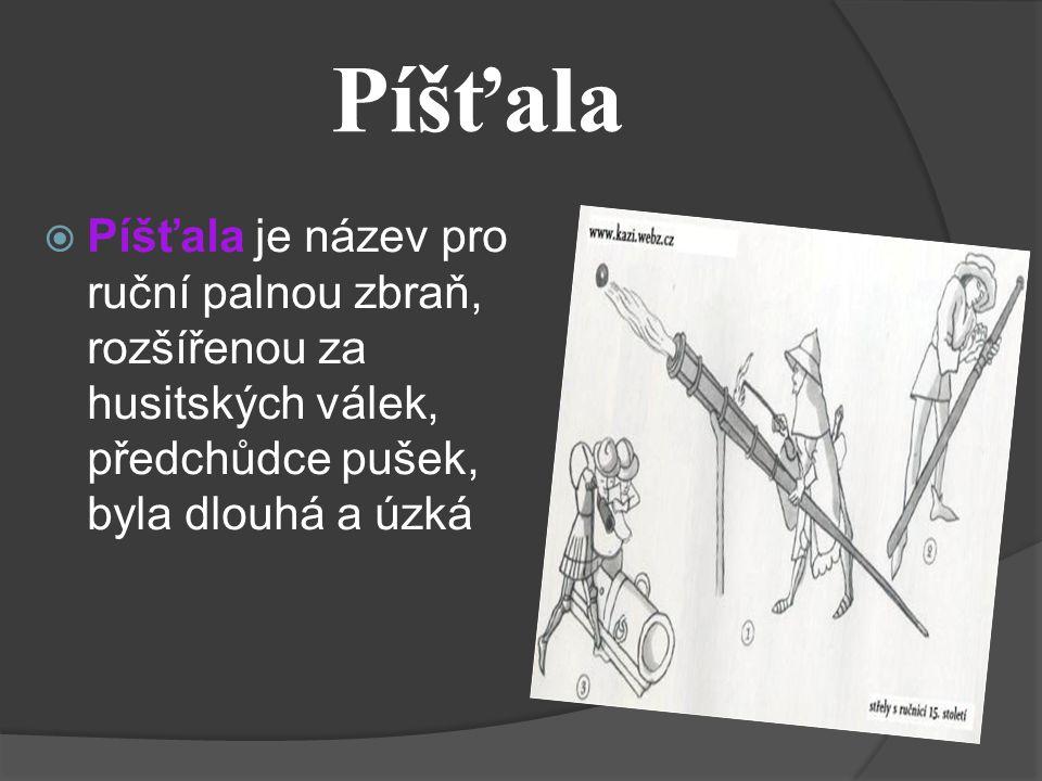 Píšťala Píšťala je název pro ruční palnou zbraň, rozšířenou za husitských válek, předchůdce pušek, byla dlouhá a úzká.