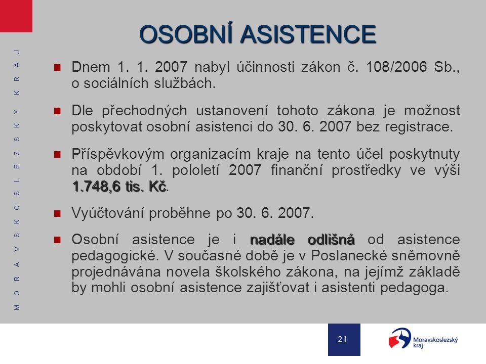 OSOBNÍ ASISTENCE Dnem 1. 1. 2007 nabyl účinnosti zákon č. 108/2006 Sb., o sociálních službách.