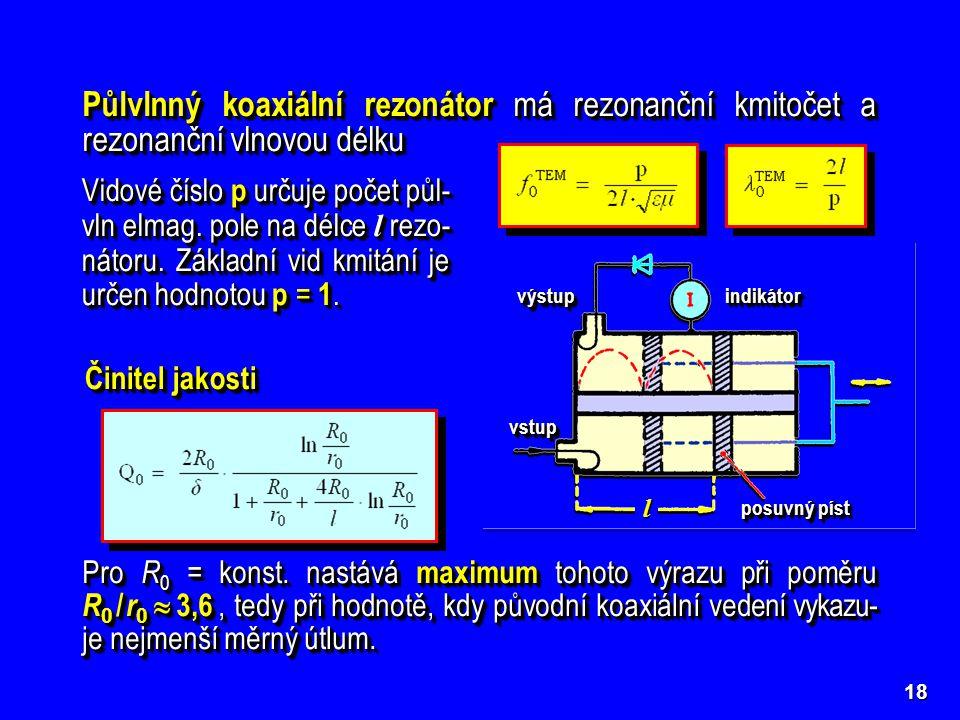 Půlvlnný koaxiální rezonátor má rezonanční kmitočet a rezonanční vlnovou délku