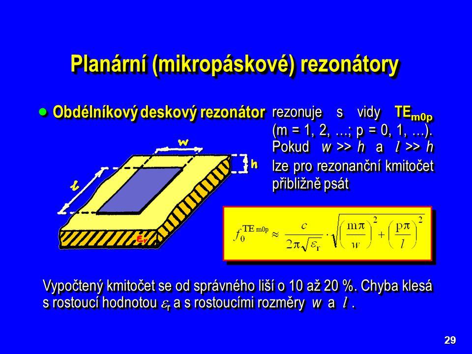Planární (mikropáskové) rezonátory