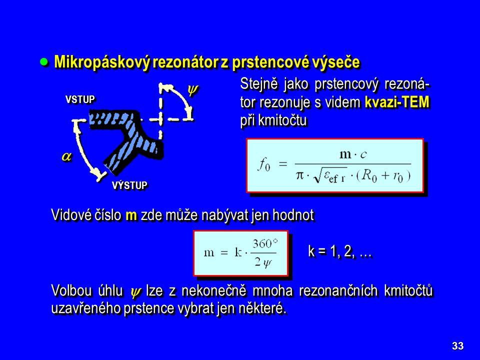 Mikropáskový rezonátor z prstencové výseče