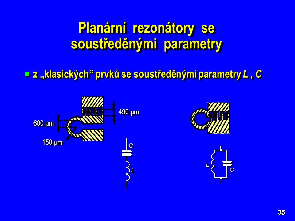 Planární rezonátory se soustředěnými parametry