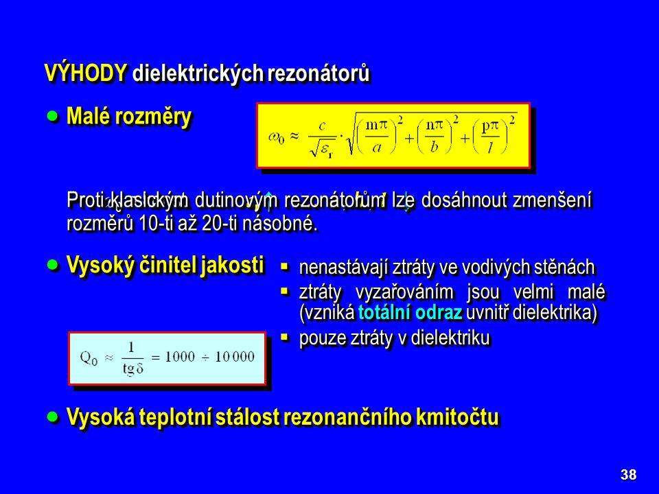 VÝHODY dielektrických rezonátorů