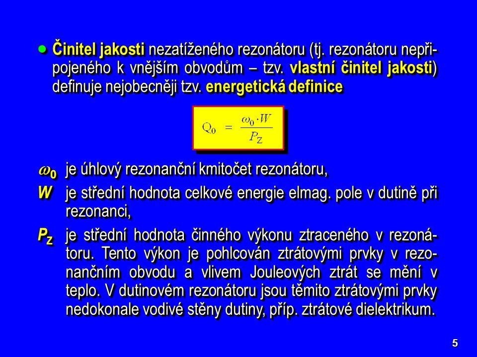 0 je úhlový rezonanční kmitočet rezonátoru,