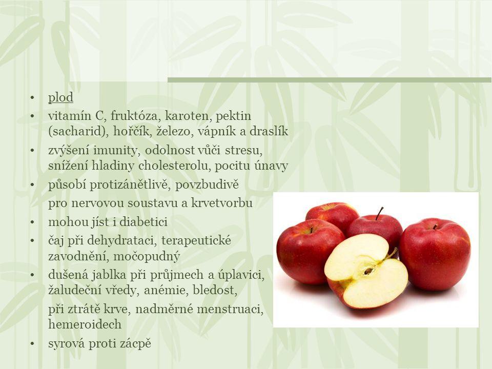 plod vitamín C, fruktóza, karoten, pektin (sacharid), hořčík, železo, vápník a draslík.