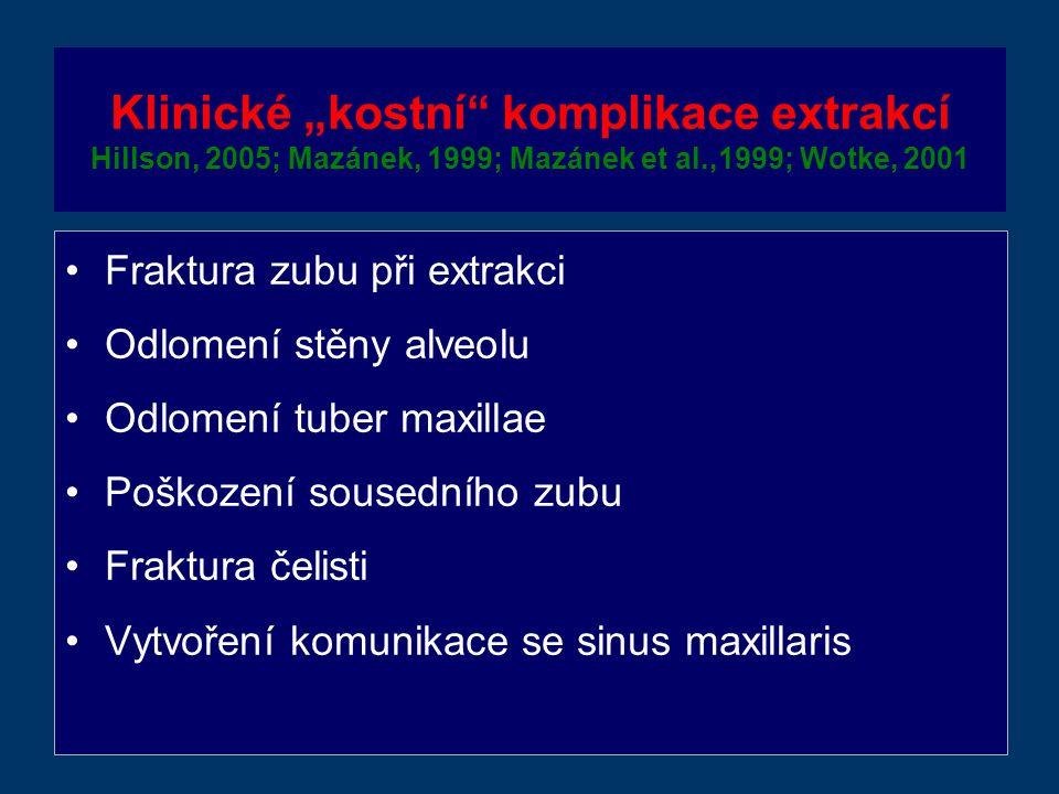 """Klinické """"kostní komplikace extrakcí Hillson, 2005; Mazánek, 1999; Mazánek et al.,1999; Wotke, 2001"""