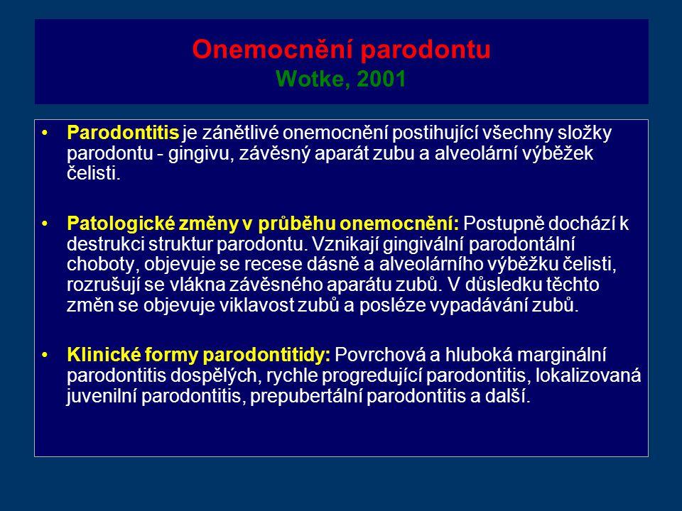 Onemocnění parodontu Wotke, 2001