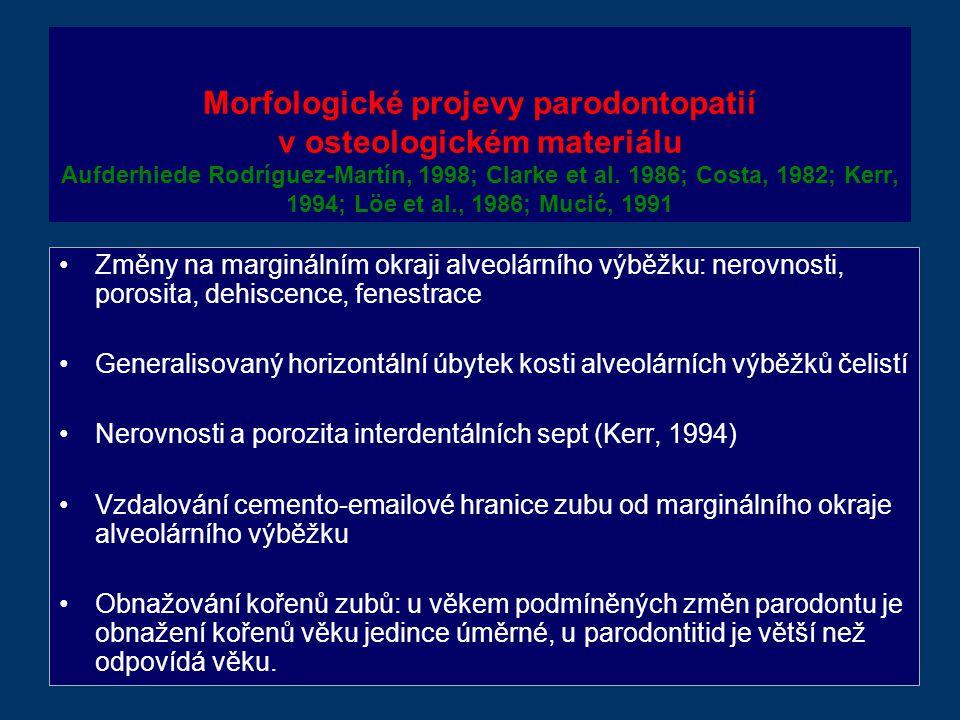 Morfologické projevy parodontopatií v osteologickém materiálu Aufderhiede Rodríguez-Martín, 1998; Clarke et al. 1986; Costa, 1982; Kerr, 1994; Löe et al., 1986; Mucić, 1991