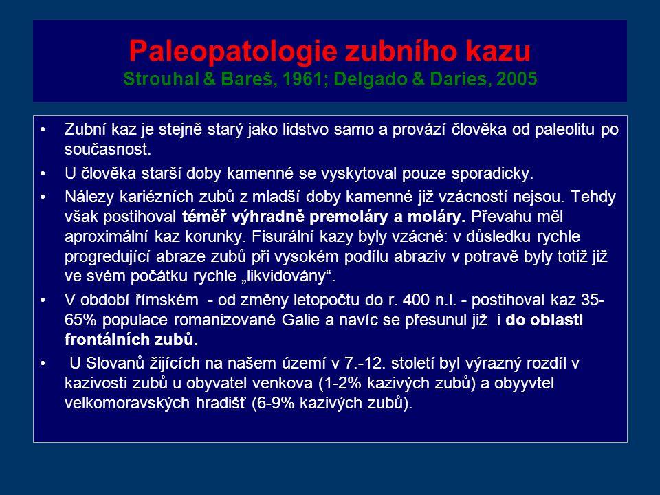 Paleopatologie zubního kazu Strouhal & Bareš, 1961; Delgado & Daries, 2005