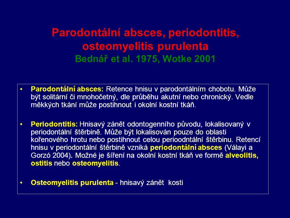 Parodontální absces, periodontitis, osteomyelitis purulenta Bednář et al. 1975, Wotke 2001