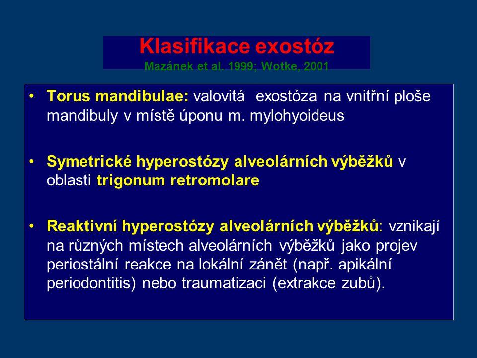 Klasifikace exostóz Mazánek et al. 1999; Wotke, 2001