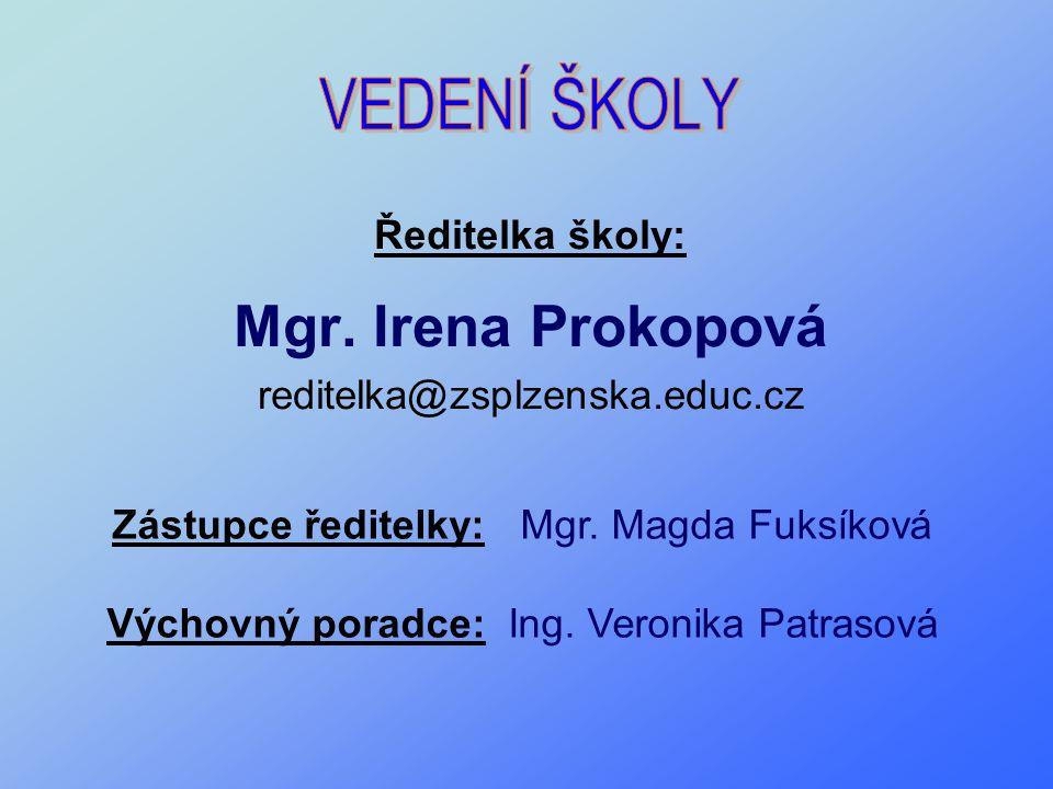 VEDENÍ ŠKOLY Mgr. Irena Prokopová Ředitelka školy: