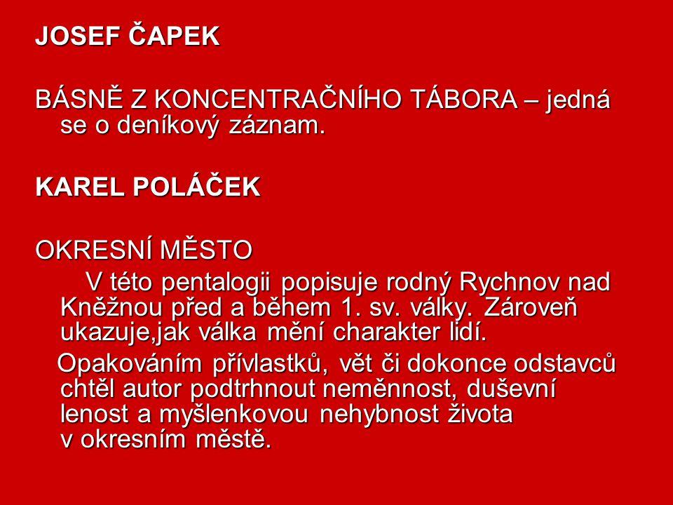 JOSEF ČAPEK BÁSNĚ Z KONCENTRAČNÍHO TÁBORA – jedná se o deníkový záznam. KAREL POLÁČEK. OKRESNÍ MĚSTO.