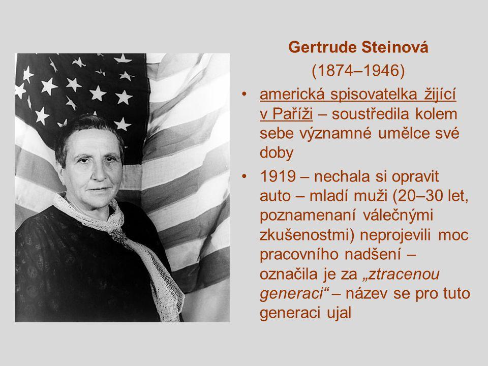 Gertrude Steinová (1874–1946) americká spisovatelka žijící v Paříži – soustředila kolem sebe významné umělce své doby.