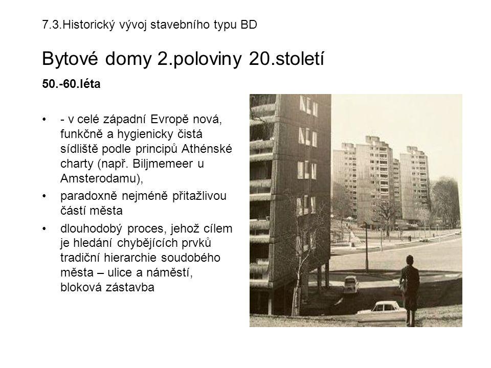 7. 3. Historický vývoj stavebního typu BD Bytové domy 2. poloviny 20