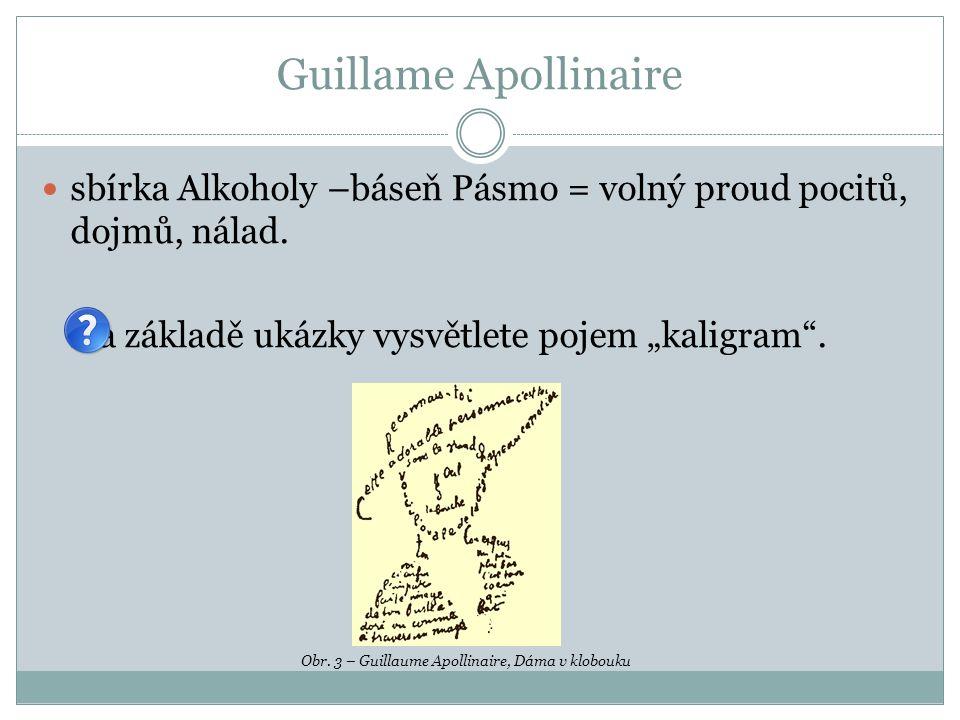 """Guillame Apollinaire sbírka Alkoholy –báseň Pásmo = volný proud pocitů, dojmů, nálad. Na základě ukázky vysvětlete pojem """"kaligram ."""