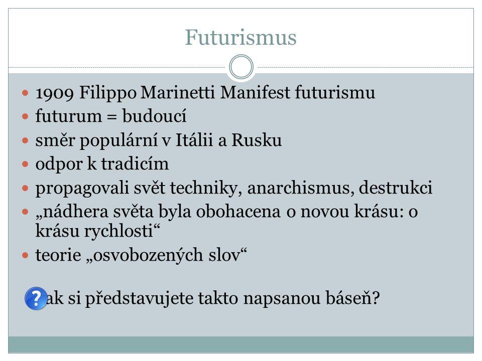 Futurismus 1909 Filippo Marinetti Manifest futurismu futurum = budoucí