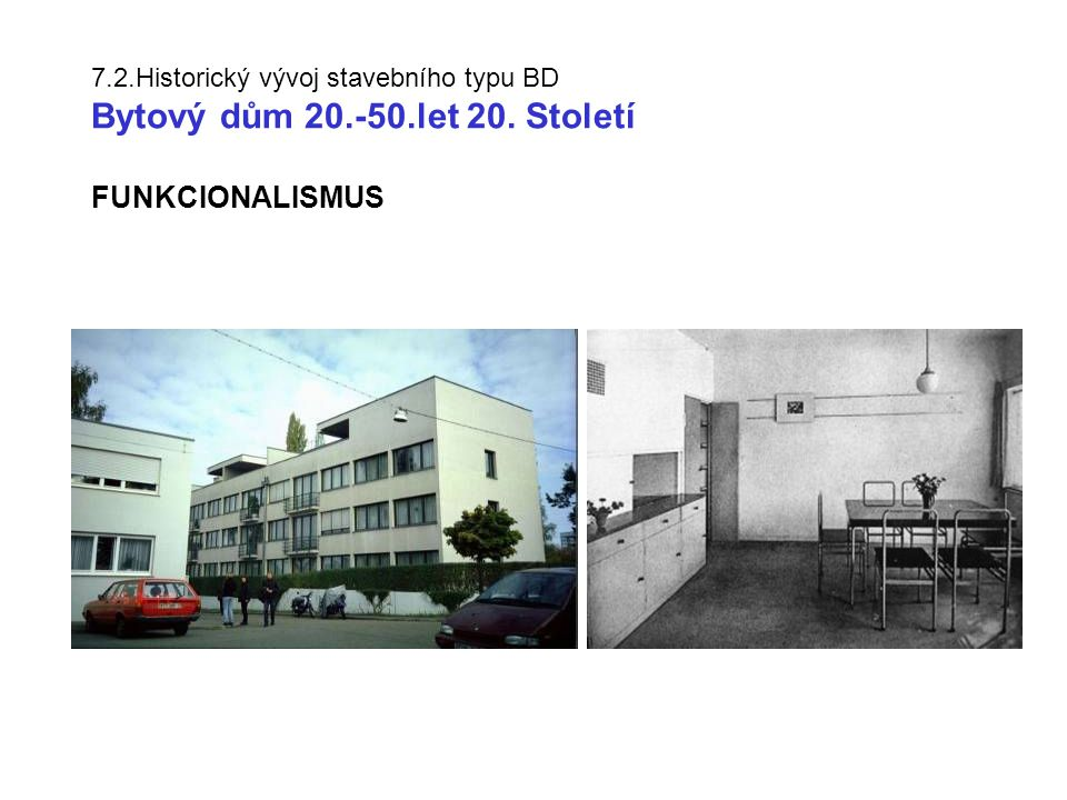 7. 2. Historický vývoj stavebního typu BD Bytový dům 20. -50. let 20