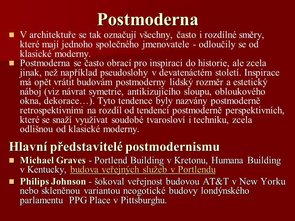 Postmoderna Hlavní představitelé postmodernismu
