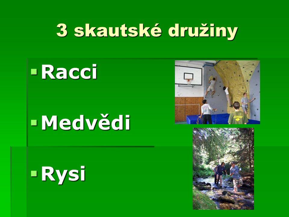 3 skautské družiny Racci Medvědi Rysi