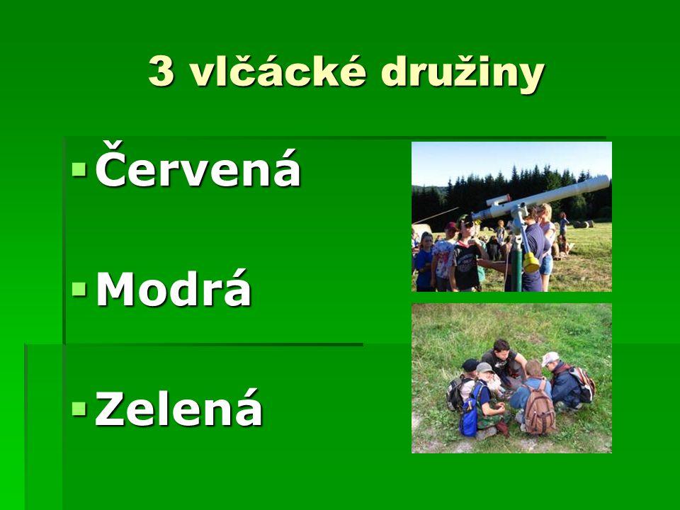 3 vlčácké družiny Červená Modrá Zelená