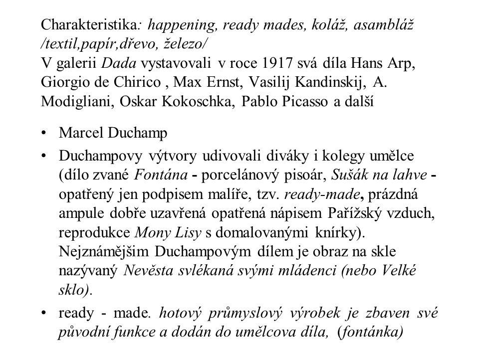 Charakteristika: happening, ready mades, koláž, asambláž /textil,papír,dřevo, železo/ V galerii Dada vystavovali v roce 1917 svá díla Hans Arp, Giorgio de Chirico , Max Ernst, Vasilij Kandinskij, A. Modigliani, Oskar Kokoschka, Pablo Picasso a další