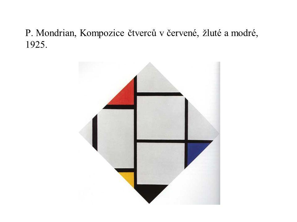 P. Mondrian, Kompozice čtverců v červené, žluté a modré, 1925.