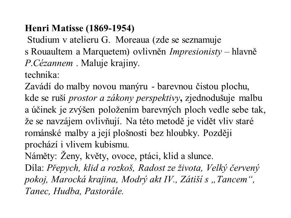 Henri Matisse (1869-1954) Studium v atelieru G