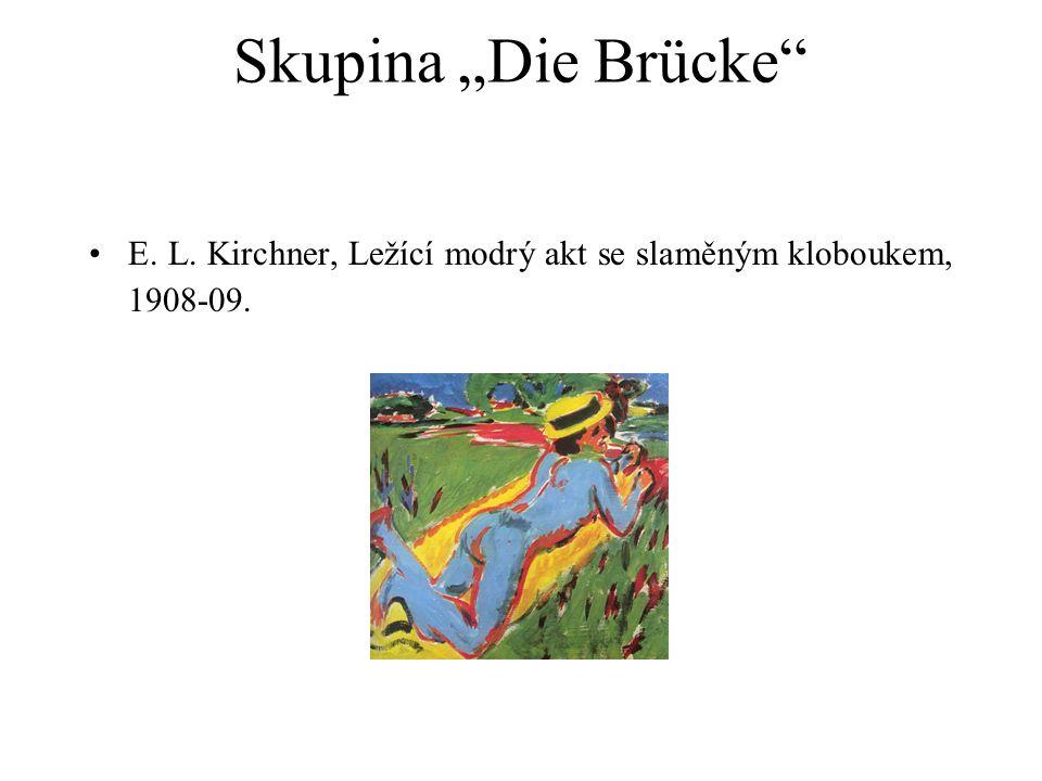 """Skupina """"Die Brücke E. L. Kirchner, Ležící modrý akt se slaměným kloboukem, 1908-09."""