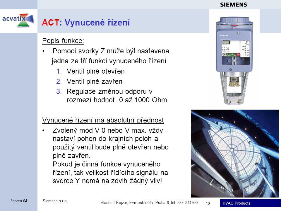 ACT: Vynucené řízení Popis funkce: Pomocí svorky Z může být nastavena