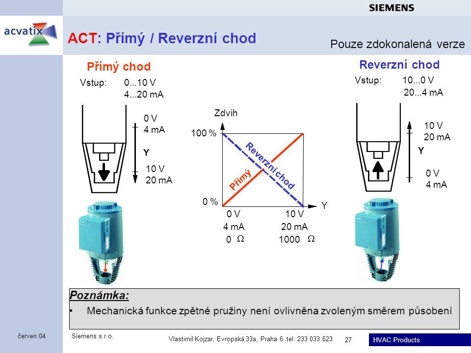 ACT: Přímý / Reverzní chod