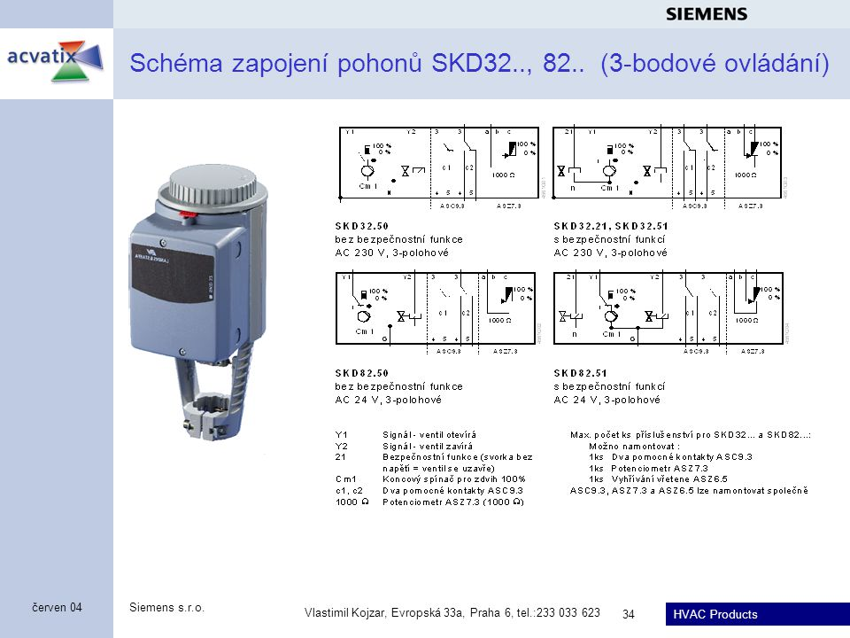 Schéma zapojení pohonů SKD32.., 82.. (3-bodové ovládání)