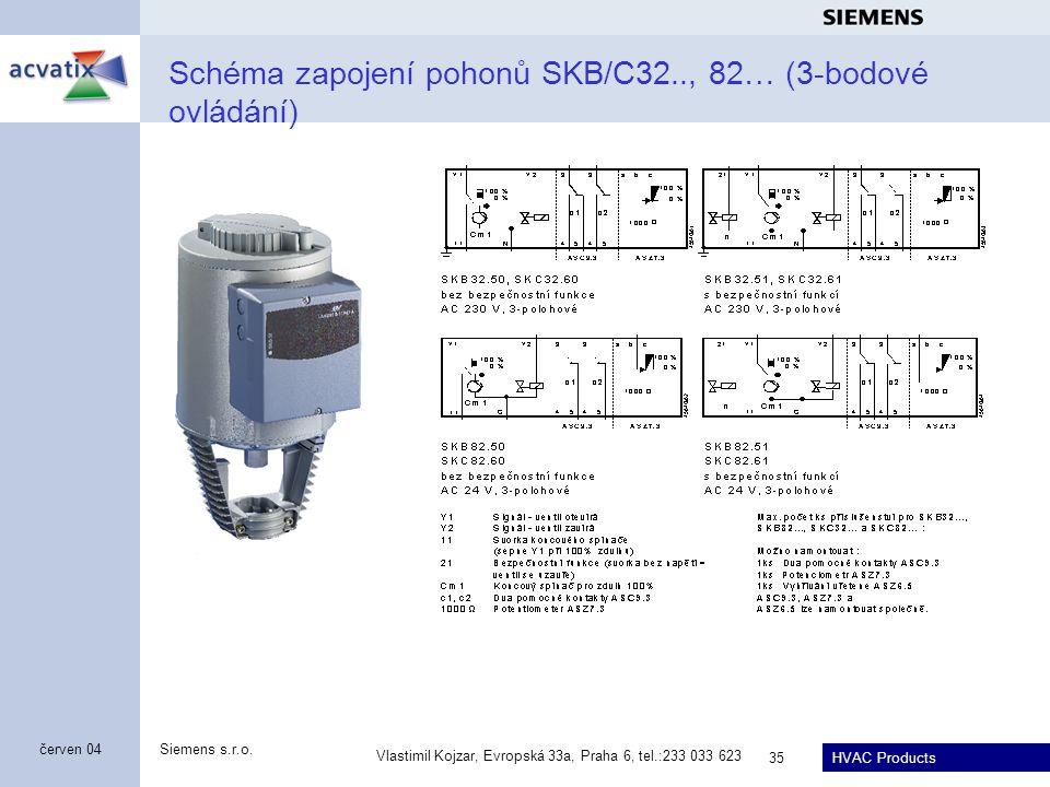 Schéma zapojení pohonů SKB/C32.., 82… (3-bodové ovládání)