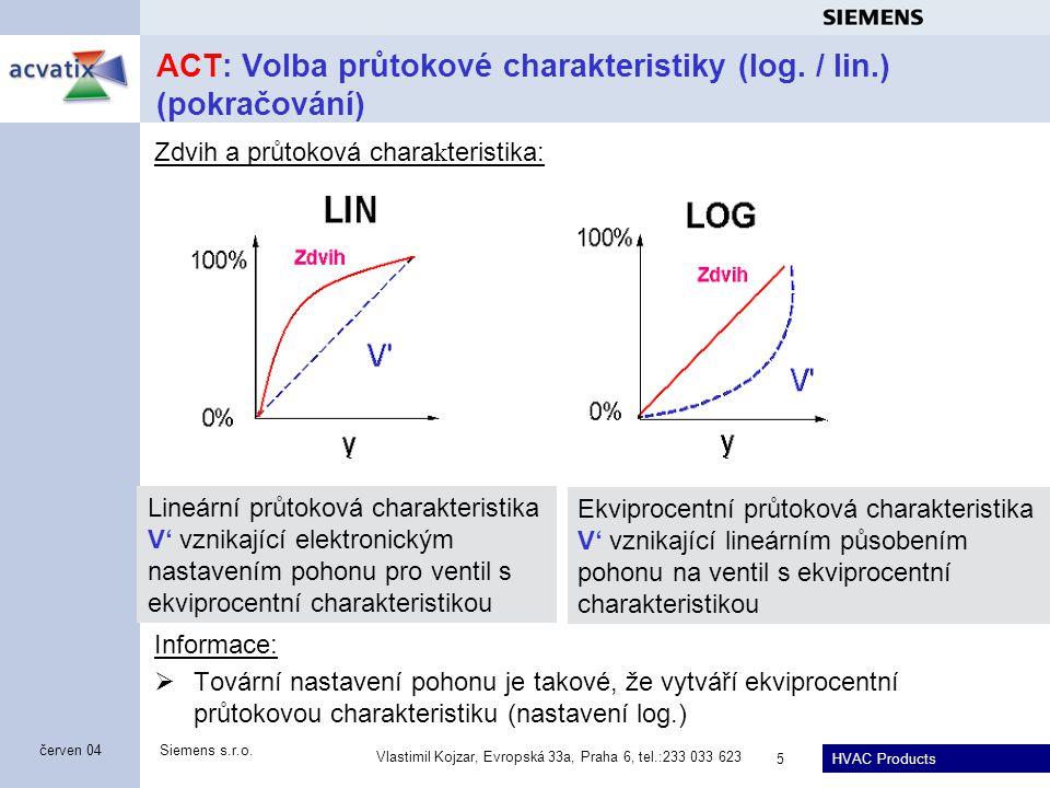 ACT: Volba průtokové charakteristiky (log. / lin.) (pokračování)