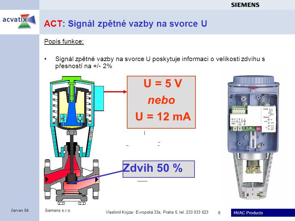 ACT: Signál zpětné vazby na svorce U