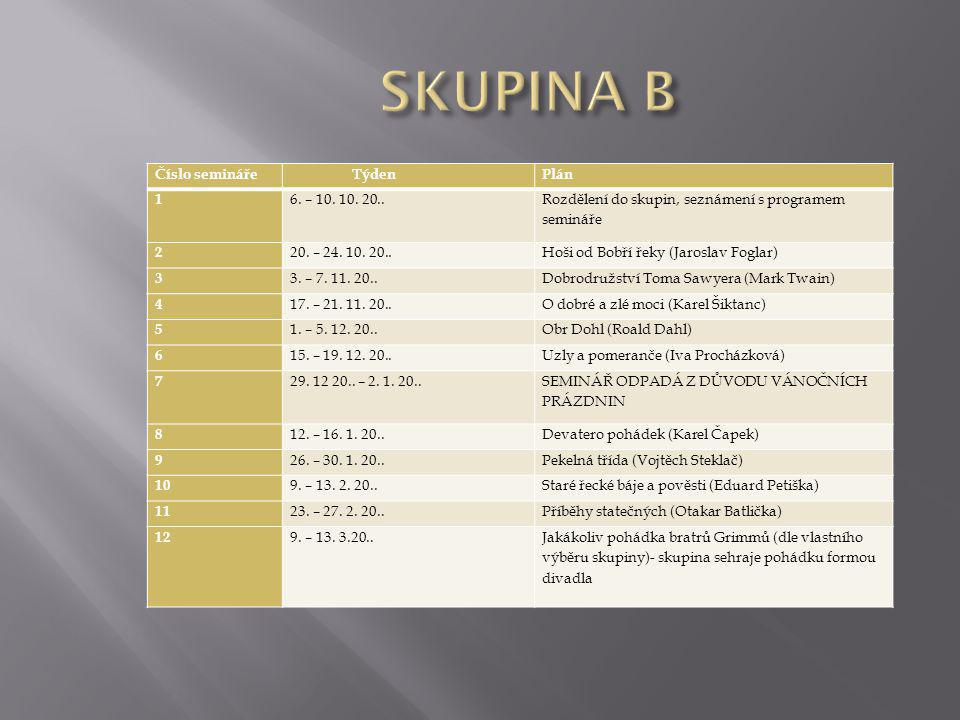 SKUPINA B Číslo semináře Týden Plán 1 6. – 10. 10. 20..