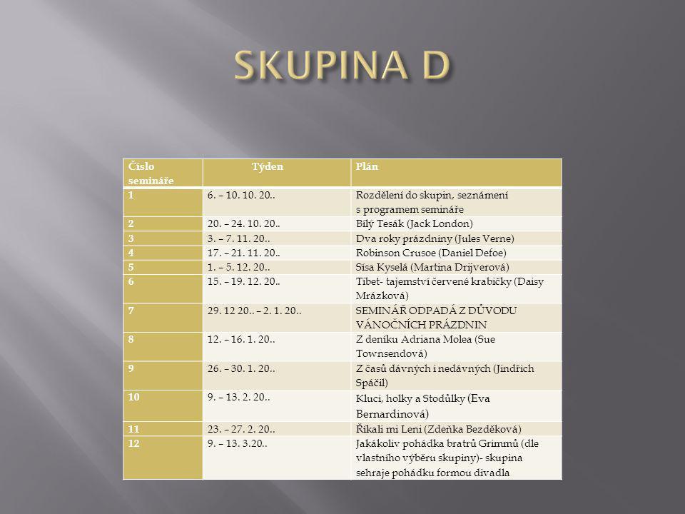 SKUPINA D Číslo semináře Týden Plán 1 6. – 10. 10. 20..