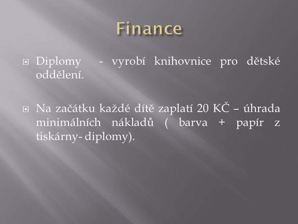 Finance Diplomy - vyrobí knihovnice pro dětské oddělení.
