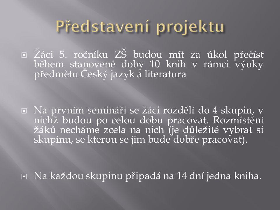 Představení projektu Žáci 5. ročníku ZŠ budou mít za úkol přečíst během stanovené doby 10 knih v rámci výuky předmětu Český jazyk a literatura.