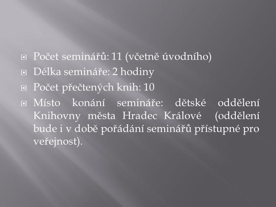 Počet seminářů: 11 (včetně úvodního)