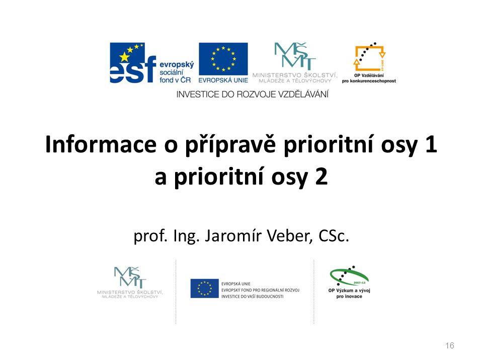 Informace o přípravě prioritní osy 1 a prioritní osy 2 prof. Ing