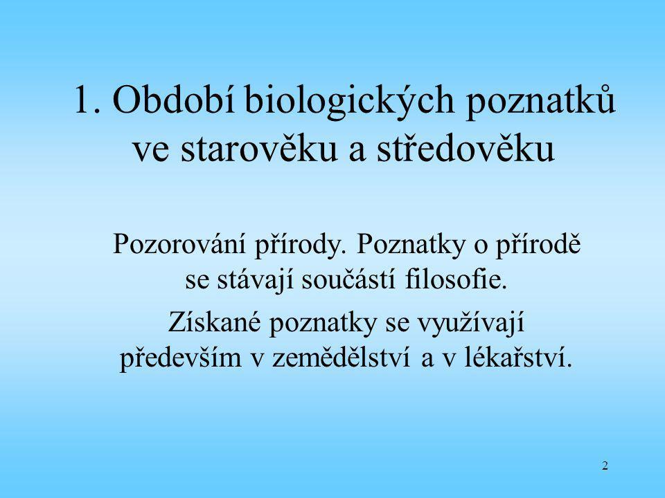 1. Období biologických poznatků ve starověku a středověku
