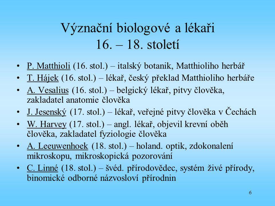 Význační biologové a lékaři 16. – 18. století