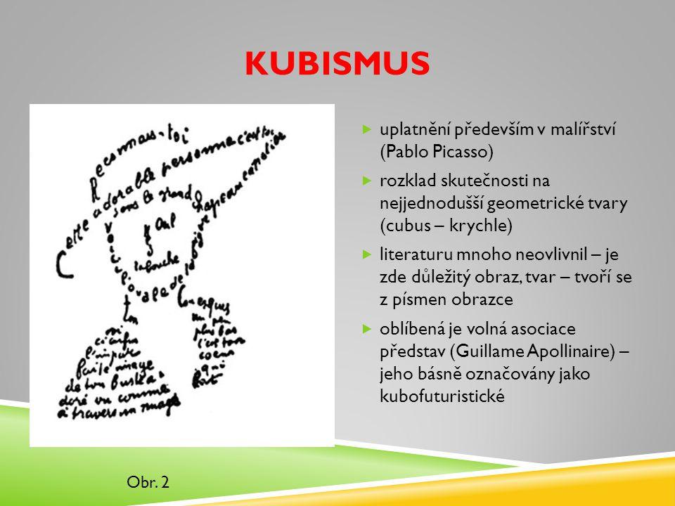 Kubismus uplatnění především v malířství (Pablo Picasso)