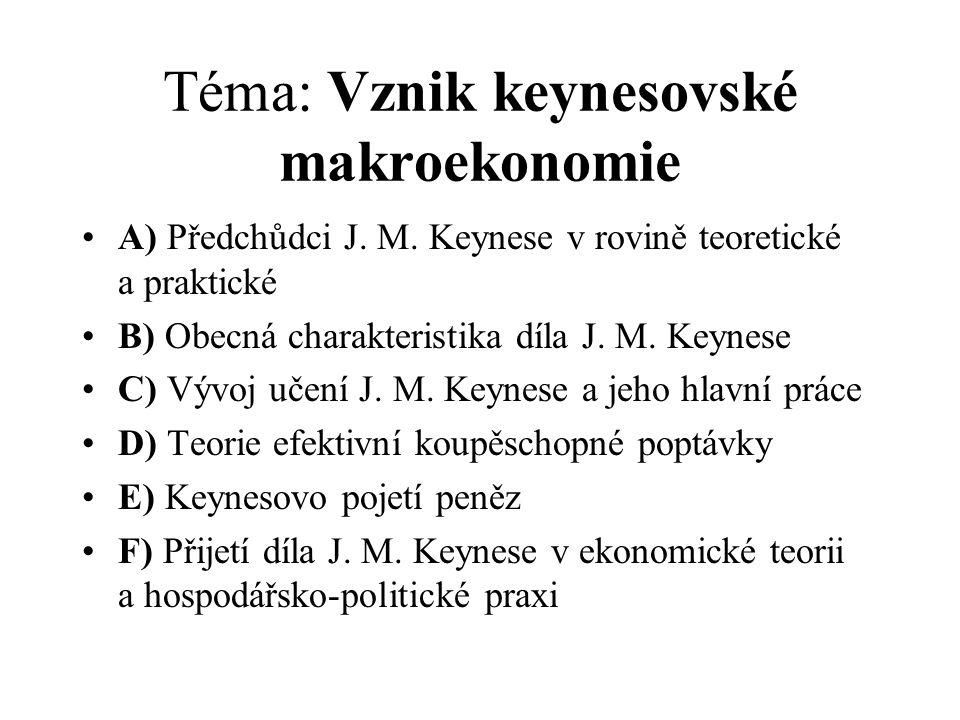 Téma: Vznik keynesovské makroekonomie